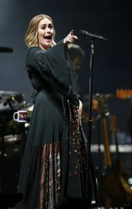 Adele peforming on stage at the Glastonbury Festival, at Worthy Farm in Somerset.
