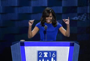 UNITED STATES - JULY 25: First Lady Michelle Obama speaks at the Democratic National Convention in Philadelphia on Monday, July 25, 2016. (Photo By Bill Clark/CQ Roll Call)
