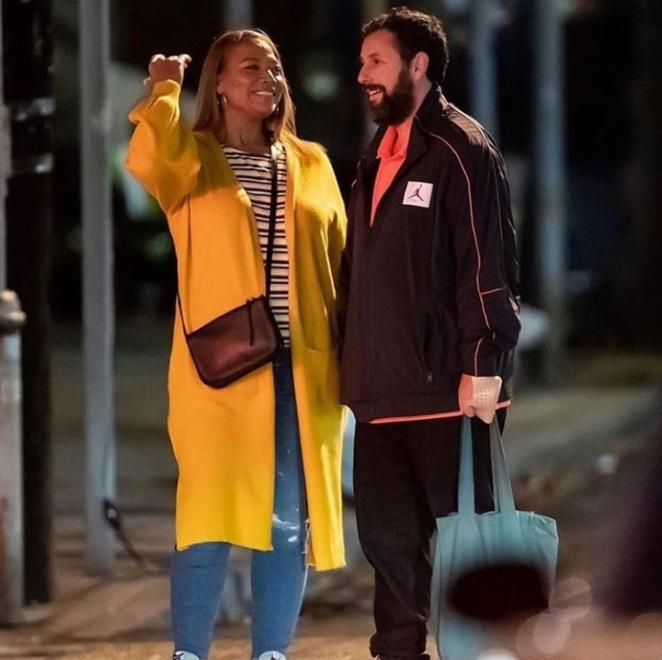 Queen Latifah and Adam Sandler in Netflix's Hustle