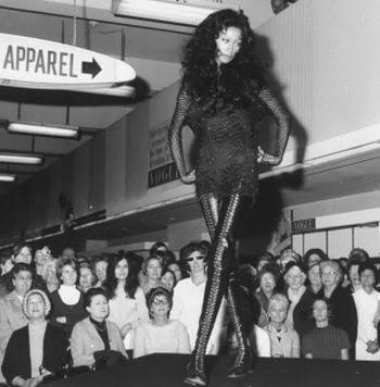First black supermodel Donyale Luna walking the runway