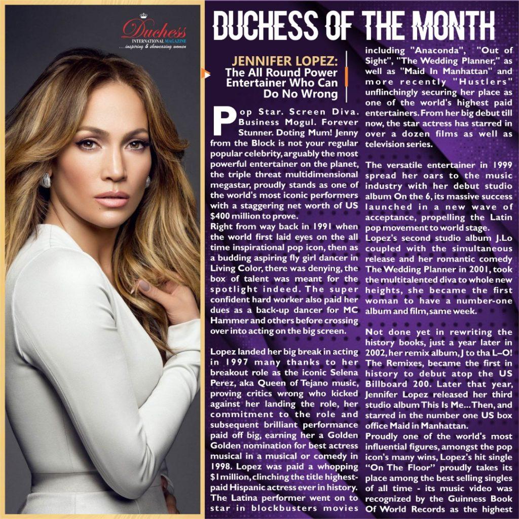 Jennifer Lopez: Duchess' Power Woman