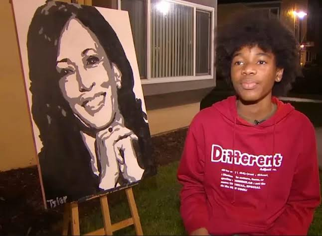 Tyler Gordon paints portrait of Kamala Harris