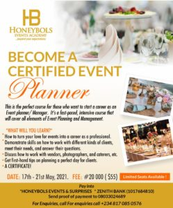 Become a certified Event planner with Honeybols Event Academy
