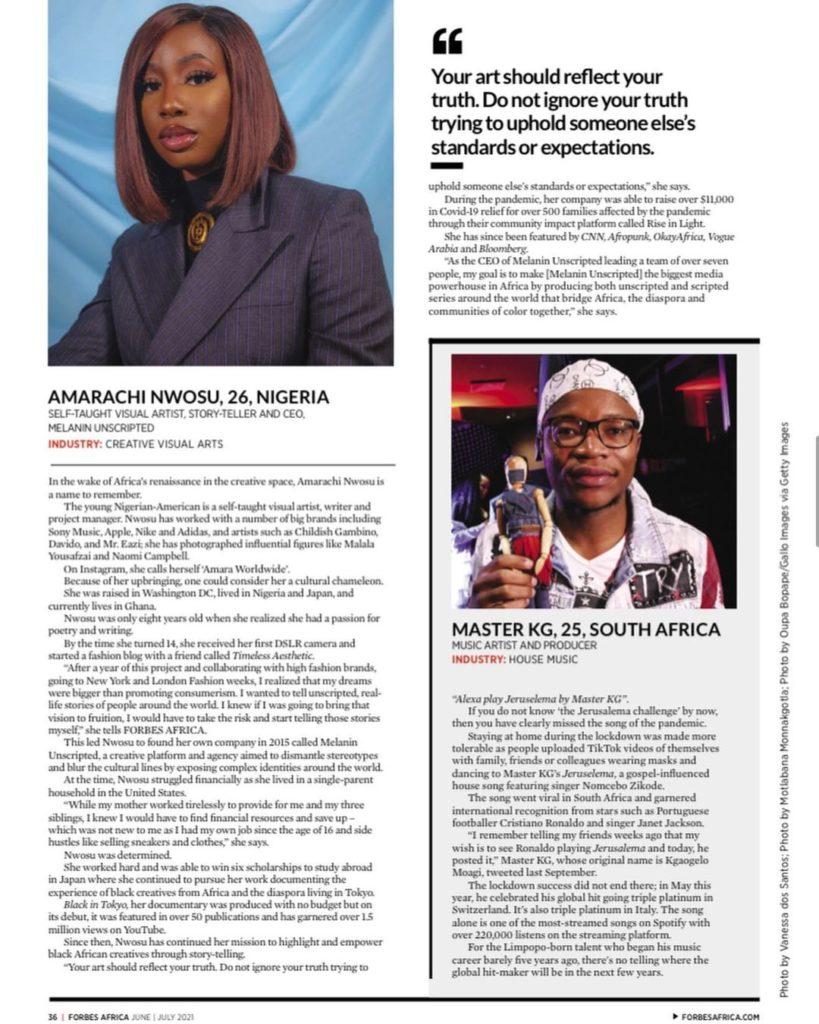 Amarachi Nwosu. Forbes 30 Under 30