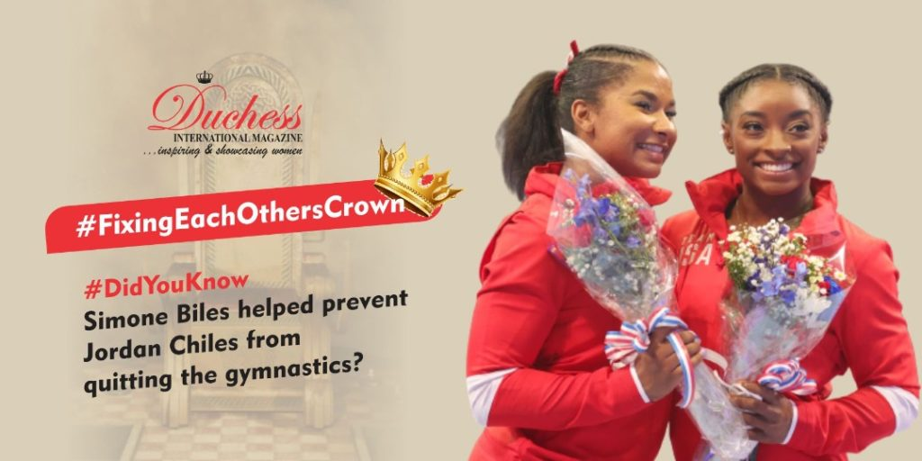 #FixingEachOthersCrown 👯♂️👑👑 #DidYouKnow Simone Biles helped prevent Jordan Chiles from quitting the gymnastics?