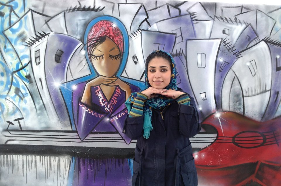 8263c03cf3 Afghanistan s First Female Street Artist Brings Hijabs And Feminism To City  Walls