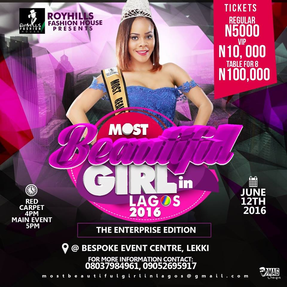 """MBGL 2016: RoyHills Fashion House officially unveils finalists for the second edition of the prestigious """"Most Beautiful Girl in Lagos 2016."""""""