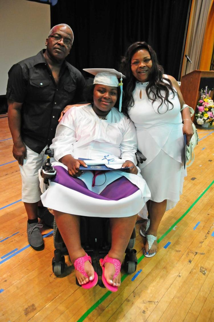 14 Year-Old Tayloni Mazyck, Paralyzed in Brooklyn Gang Shooting, Inspires at her Middle School Graduation