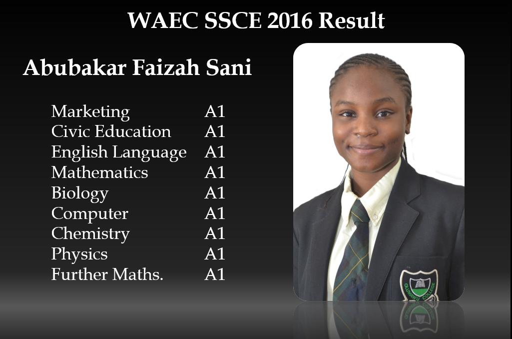 Abubakar Faizah Sanni Attains Amazing WAEC Result