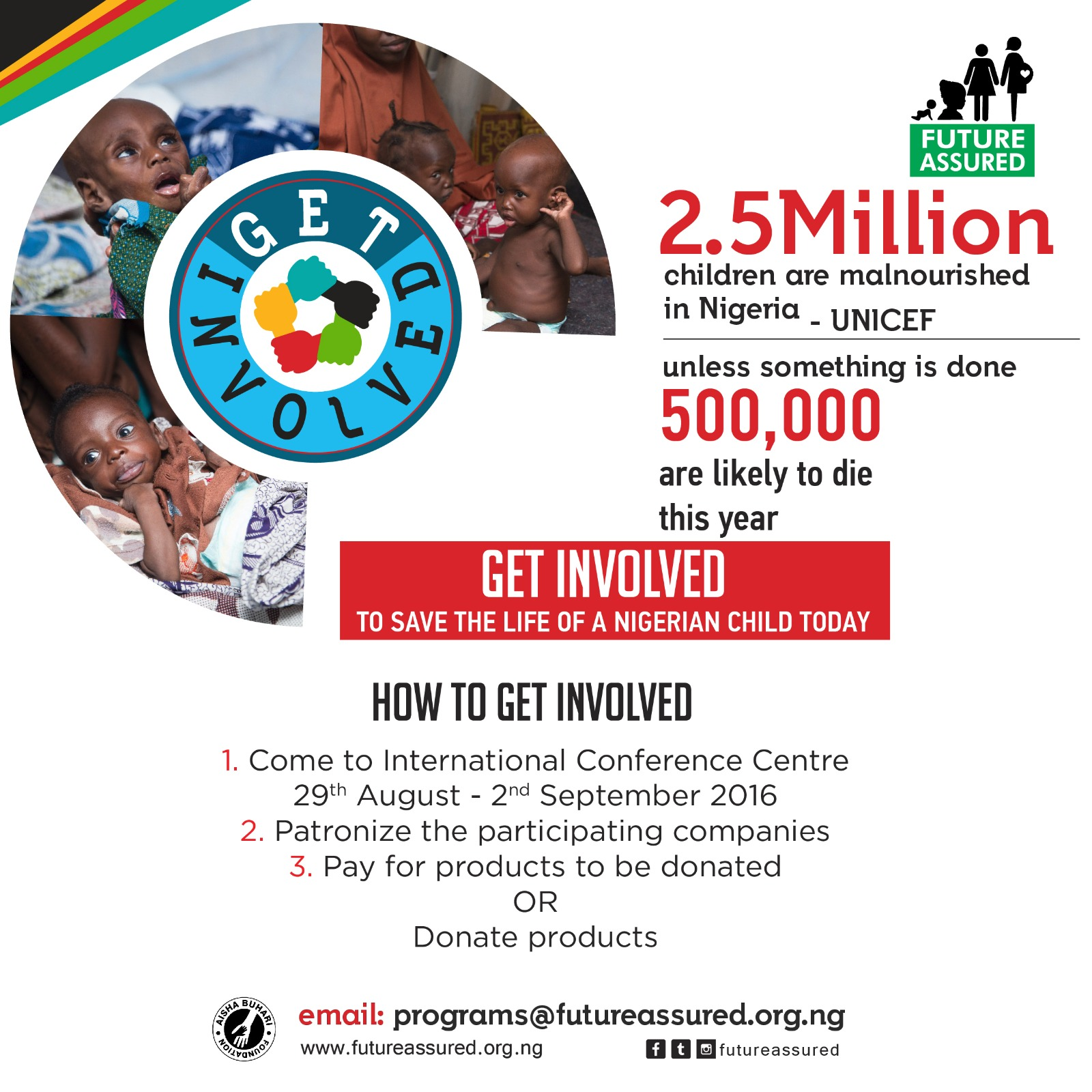 """First Lady, Aisha Buhari Set to Launch Her """"Get Involved Initiative"""" for Malnourished Children"""