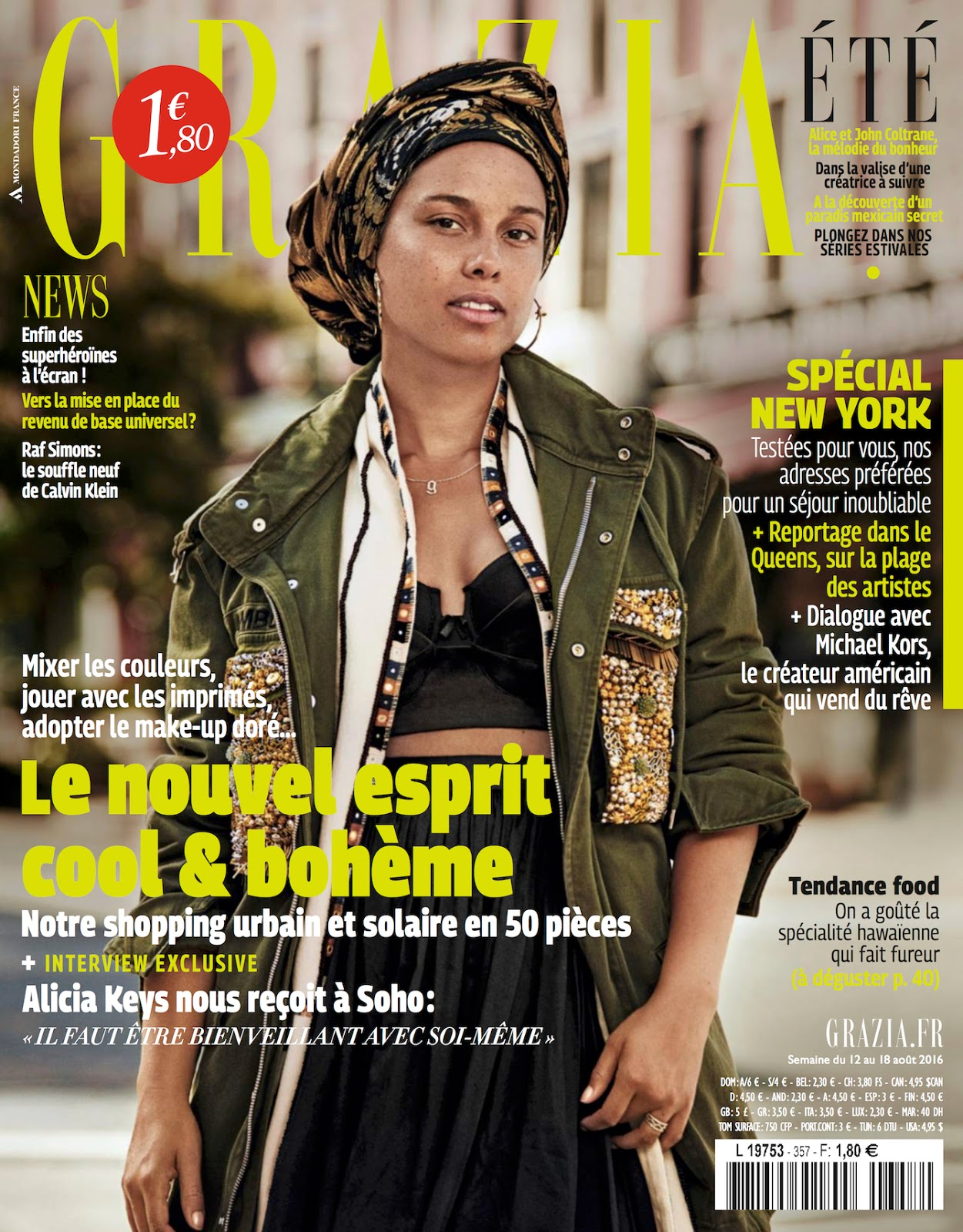 Alicia Keys Lands Her Second Make-Up Less Cover! Check out her Spread in Grazia France Latest Issue
