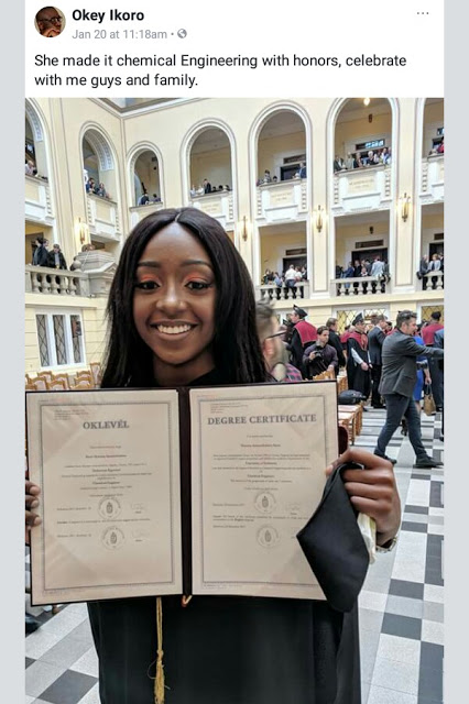 Beautiful 22-year-old Nigerian lady graduates with First Class Honours in Chemical Engineering from a Hungary university